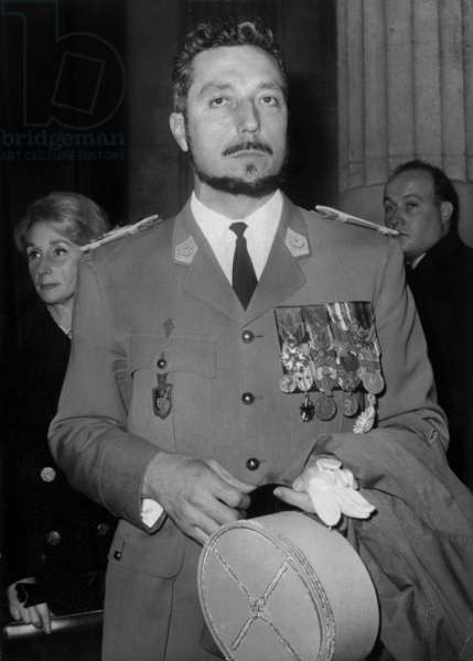 The Captain Filippi at The Barricades Trial Leaving The Law Courts in Paris,December 28, 1960 (b/w photo)