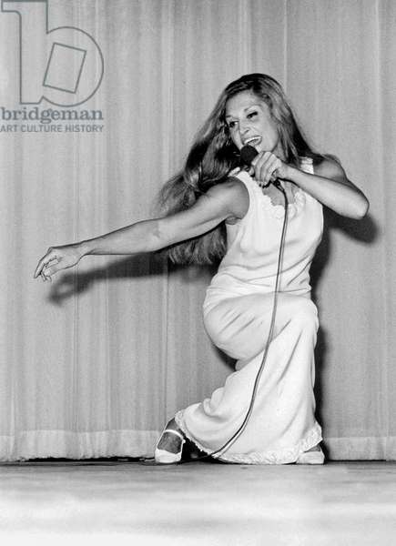 Singer Dalida on Stage at The Olympia in Paris, November 24, 1971 (b/w photo)