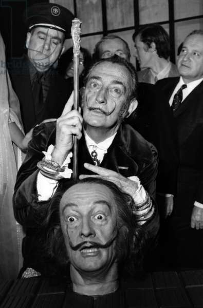 Salvador Dali With his Wax Bust, at A Press Conference, Musee National Gustave Moreau, Paris, April 1, 1970 (b/w photo)