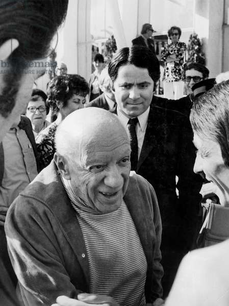 "Artist Pablo Picasso at Cannes Film Festival For Film ""Portrait of Picasso"" April 17, 1970 (b/w photo)"