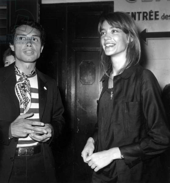 Jean Marie Perier and Francoise Hardy during The First of Sylvievartan'S Show, in L'Olympia, on September 1970 (b/w photo)