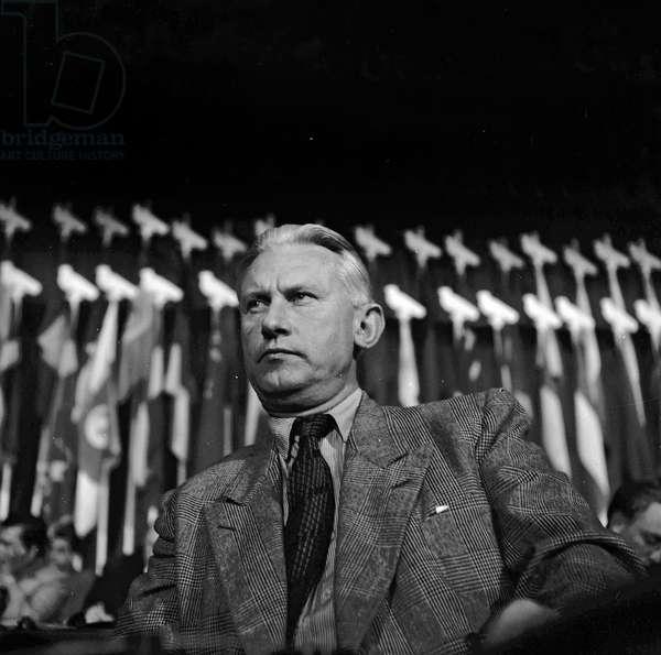 The World Congress of the Peace, Paris, April 24, 1949 : Russian writer Alexandre Aleksandrovitch Fadeiev (b/w photo)