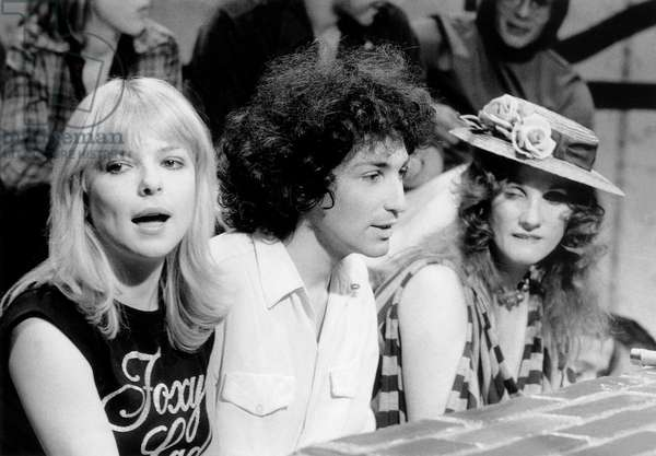 France Gall, Michel Berger Et Diane Dufresne during TV Programme on March 9, 1978 (b/w photo)