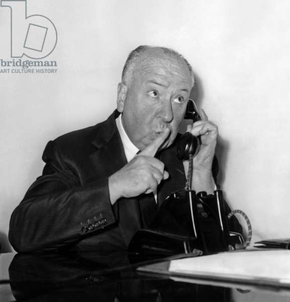 Alfred Hitchcock at Orly Airport on October 1St 1960 (b/w photo)