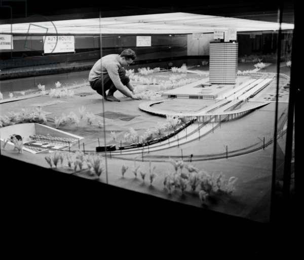 Scale Model of Channel Tunnel, Exhibited at The Palais De La Decouverte, Paris, December 10, 1963 (b/w photo)
