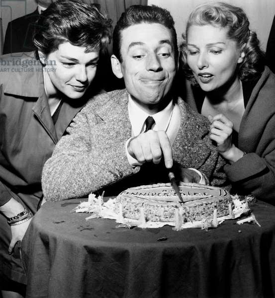 Simone Signoret and Yves Montand With Simone Renant For 32Th Birthday of Montand October 14, 1953 (b/w photo)