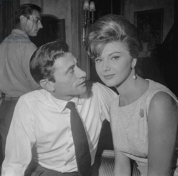 "Robert Lamoureux and Sylva Koscina on set of film ""Ravissante"", Paris, September 8, 1960 (b/w photo)"