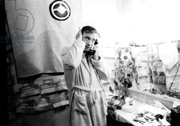 Singer Yves Montand After Rehearsal of his One Man Show here in The Dressing Room of Olympia September 20, 1968  (b/w photo)