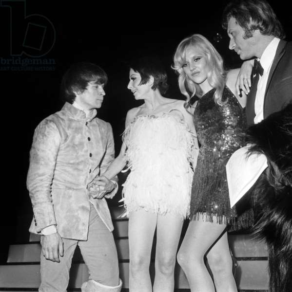 Zizi Jeanmaire With Rudolf Nureyev, Sylvie Vartan and Johnny Hallyday at Casino De Paris February 4, 1970 (b/w photo)