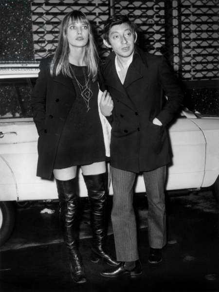 Jane Birkin and Serge Gainsbourg After A Diner Withdali on November 18, 1968 (b/w photo)