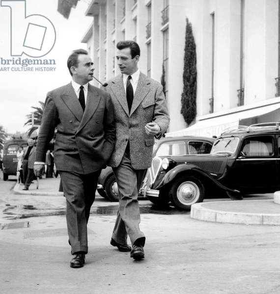 Yves Montand and Henri-Georges Clouzot at Cannes Festival April 16, 1953 (b/w photo)