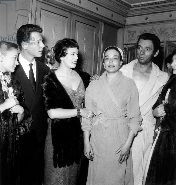 Simone Signoret and Yves Montand After Performance of The Witches of Salem With Daniele Delorme (And Juliettegreco on R) December 17, 1954 (b/w photo)