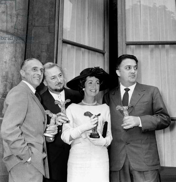 Rene Clair, Pierre Brasseur, Danielle Darrieux and Federico Fellini Have Received A Prize July 4, 1958 in Paris (b/w photo)