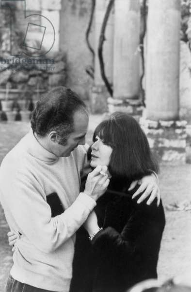 Michel Piccoli and Juliette Greco during Their Honeymoon in Saint Paul De Vence (France) January 1967 (b/w photo)
