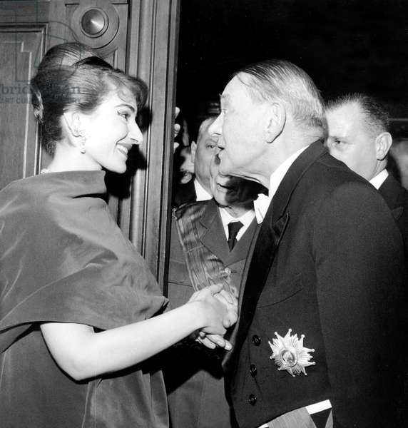 Maria Callas Congratulated By French President Rene Coty at Paris Opera House December 20, 1958 (b/w photo)