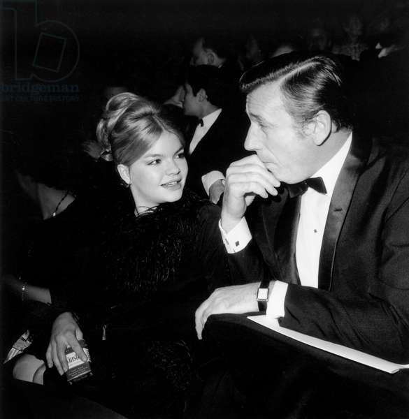 """Catherine Allegret and Yves Montand at Premiere of """"Lady L"""" December 22, 1965 (b/w photo)"""