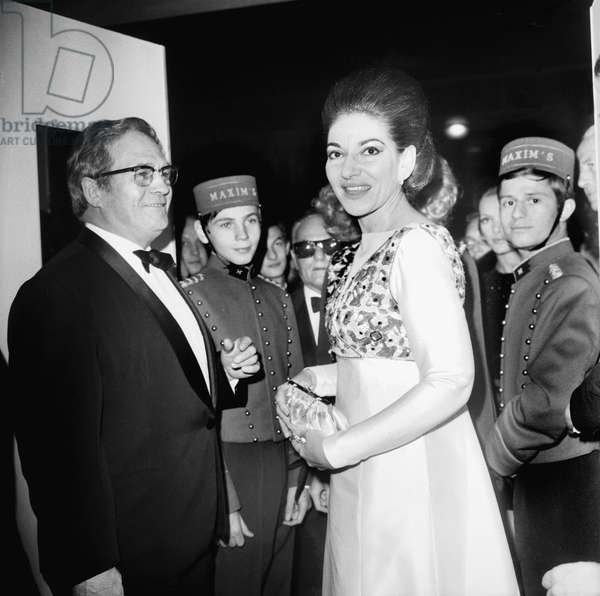 Maria Callas at The 75Th Birthday of Maxim'S Restaurant in Paris October 19, 1968 (b/w photo)