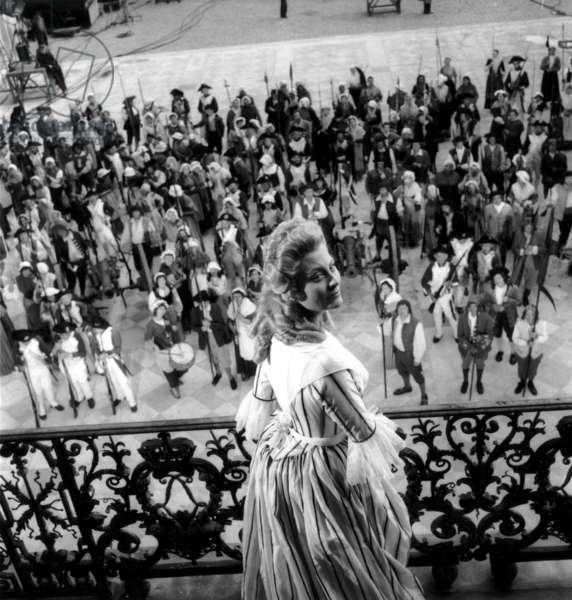 Michele Morgan As Marie-Antoinette on Set of Film Marie Antoinette By Jeandelannoy October 17, 1953 (b/w photo)