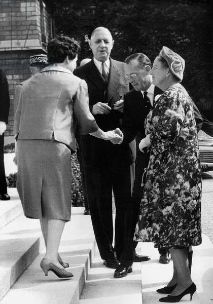 Official Visit By The Royal Family of Holland To Paris Mme De Gaulle Prince Bernhard and Queen Juliana and Charles De Gaulle on The Steps of The Elysees Palace After The Official Lunch September 20, 1961 (b/w photo)