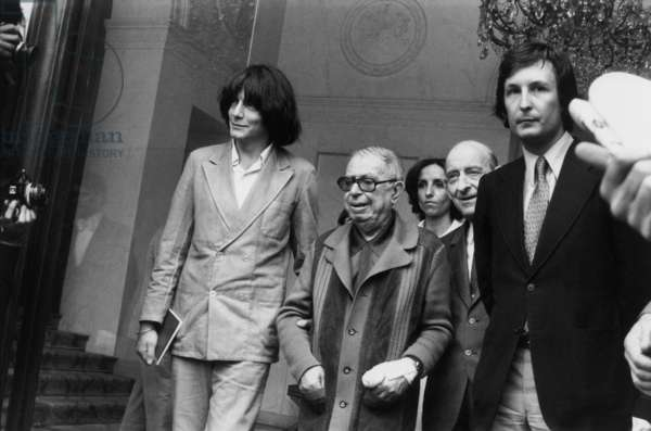 Jean Paul Sartre With Andre Glucksman and Raymond Aron at Elysee Palace in Paris To Speak About Question of Refugees From South West of Asia June 26, 1979 (b/w photo)