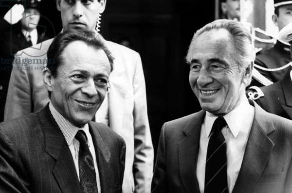 French Prime Minister Michel Rocard With Shimon Peres, Paris, September 23, 1988 (b/w photo)