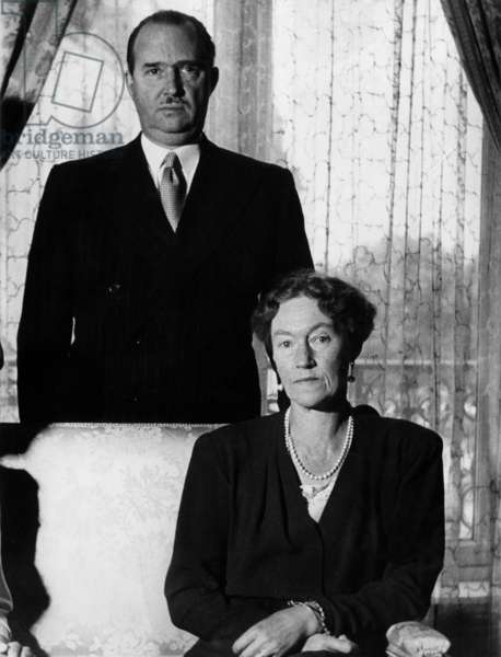 Grand duchess Charlotte of Luxembourg and her husband prince Felix of Bourbon (Felice di Borbone) in 1964 (b/w photo)