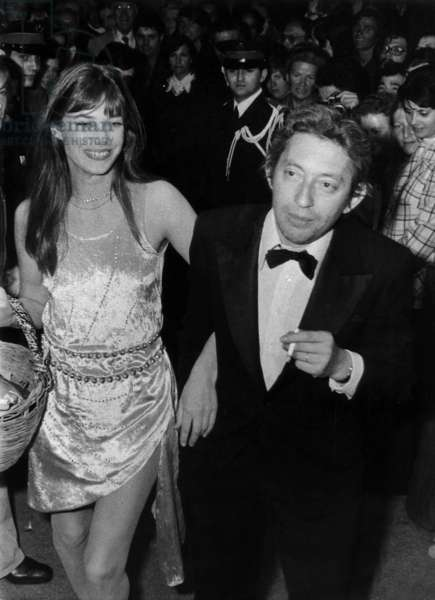Serge Gainsbourg and Jane Birkin at Cannes Film Festival Mai 20, 1974 (b/w photo)