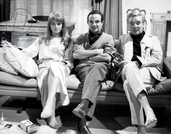 "Actors Julie Christie and Oskar Werner With Director Francois Truffaut on Set of Film ""Fahrenheit 451"" February 5, 1966 (b/w photo)"
