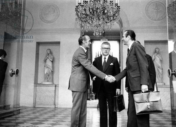 French President Valery Giscard D'Estaing Shaking Hands With his Prime Minister Jacques Chirac After Ministers Council (In The Center Is Jean Pierre Fourcade) June 12, 1974 (b/w photo)