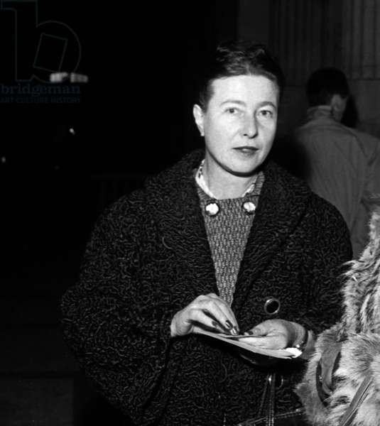 French Writer Simone De Beauvoir Arriving at Law Courts As Witness in Ben Sadok Trial, December 10, 1957, Paris (b/w photo)