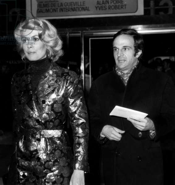 Director Francois Truffaut and Actress Catherine Deneuve at Premiere of Film Clerambard October 1969 (b/w photo)