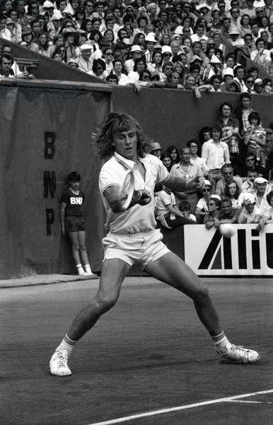 Bjorn Borg Here June 15, 1974 At Roland Garros International Tennis Tournament. (June 16, 1974 He became the youngest winner of Roland Garros.) (b/w photo)