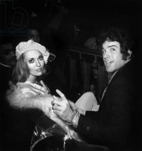 Warren Beatty and Faye Dunaway at Moulin Rouge in Paris For Premiere of Film Bonnie and Clyde January 24, 1968 (b/w photo)