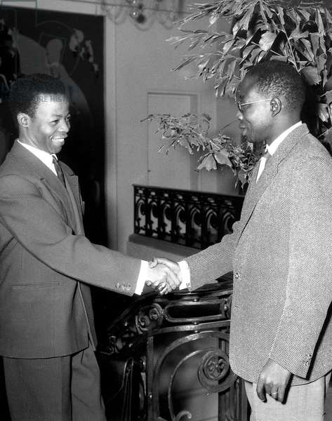 Senegalese President Leopold Sedar Senghor Receives Malian Minister of Development Seydou Badian Kouayte in Dakar January 26, 1963 About Improvement of Diplomatic Relationships Between The Two Countries (b/w photo)