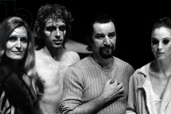 "Maurice Bejart With his Dancers Jorge Donn and Suzanne Farrel during Rehearsals of Ballet ""Nijinski Clown De Dieu"" in Paris January 13, 1972 (On The Left Is Singer Dalida Who Came To Attend The Rehearsals) (b/w photo)"