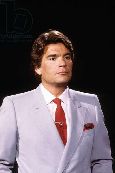 """French Businessman and Politician Bernard Tapie during TV Programme """"Ambitions"""" 1986 (photo)"""