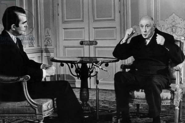 Journalist Michel Droit Listening To French President General De Gaulle during Radio and Tv Interview at Elysee Palace June 7, 1968 About The Events of May 1968 (b/w photo)