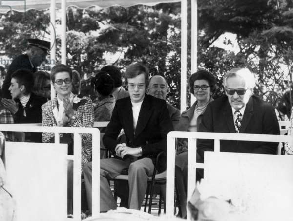 Princess Grace of Monaco, Prince Albert (Future Albert Ii) and Prince Rainier Iii in Gardens of Monaco May 8, 1973 (b/w photo)