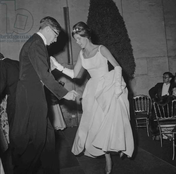 "The ""Bal des d�butantes"" in Versailles, France, July 1st, 1960 (b/w photo)"