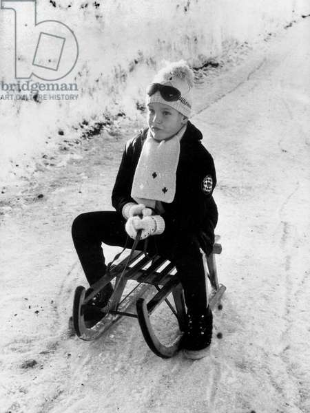 Young Prince Albert of Monaco (Future Albert Ii) at Winter Sports on Sled in 1965 (b/w photo)