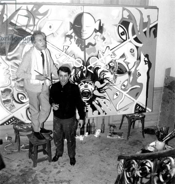Jean Cocteau and Marc Moretti in Front of Their Work La Baie Des Anges January 7, 1963