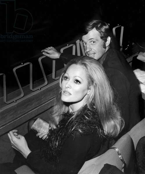 Jean Paul Belmondo and Ursula Andress at Premiere of Film The Thief February 21, 1967 in Paris (b/w photo)
