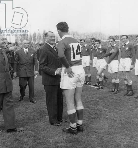 The President of The French Republic Rene Coty Congratulates The Welsh Players during The Final of Rugby, of The Five Nations Tournament Between France and Wales, Winner 16 To 11, in The Stadium of Colombes, on March 26Th, 1955 (b/w photo)