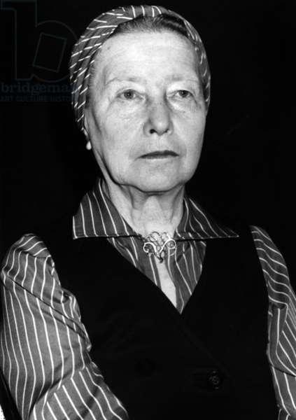 Simone De Beauvoir, June 12, 1978 (b/w photo)
