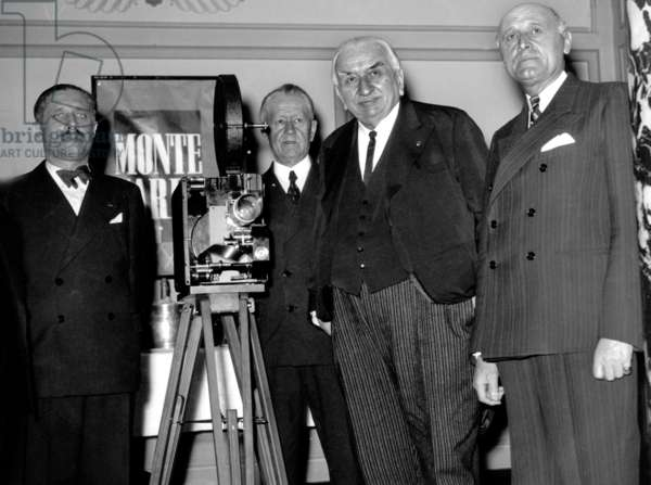 On The Left of The Camera Is George Huisman (Future President of Jury of The 1St Cannes-Festival1946), 2Nd on The Right of The Camera Is Louis Lumiere (1864-1948) and Jm Croissac (His Assistant) in Monte Carlo June 1939 : Louis Lumiere, Inventor of The Cinema, Gives his Agreement To Georges Huisman, General Director of Fine Arts, To Become The President of The First International Film Festival in Cannes Planned in September 1-20, 1939 (The War Interrupted This Project Which Would Not Take Place Until 1946) (b/w photo)