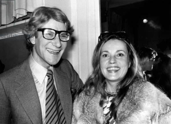 Yves Saint-Laurent and Jeanne Moreau at Presentation of Spring-Summer Collection By Saint Laurent (b/w photo)