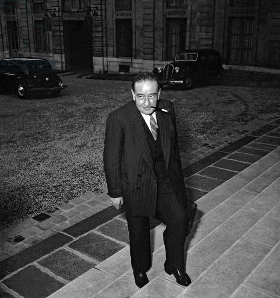 Council of ministers, Elysee, Paris, October 5, 1949 : Maurice Petsche, French Finance minister (b/w photo)