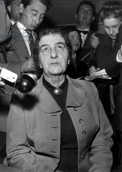 Golda Meir, Israeli Minister of Foreign Affairs, during A Press Conference at Orly Paris Airport, November 14, 1956 (b/w photo)
