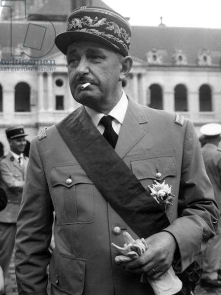 The General Dio In The Court Of Honour Of The Invalides July 22, 1965 After Being Decorated By General De Gaulle (b/w photo)