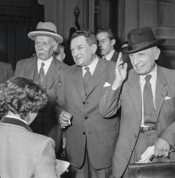 French Ministerial crisis, June 24, 1950 : Michel Clemenceau, Joseph Laniel and Georges Pernot at the Elysee, Paris (b/w photo)